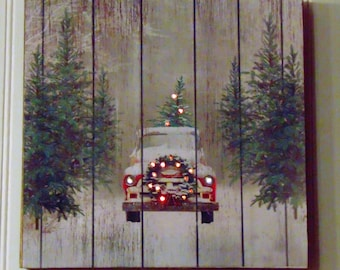 red vintage truck with christmas trees old truck with