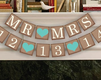 Wedding Date Banners - MR MRS Save The Date Banner - Date Sign - Wedding Banner Photo Prop - Date Garland