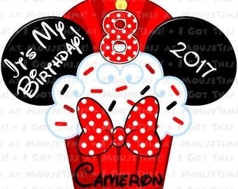 IRON-ON Birthday Cupcake Ears - Minnie Version! - Mouse Ears Tshirt Transfer / Decal