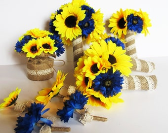 Wedding Bouquet Set 9 Pieces Set Yellow Silk Sunflowers Blue Cornflower Burlap Lace Bouquet Flowers Wedding Flowers Rustic Artificial