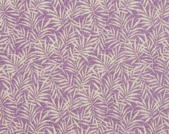 Purple and Off-White Woven Fern Leaves Chenille Upholstery Fabric By The Yard | Pattern # B08B0B