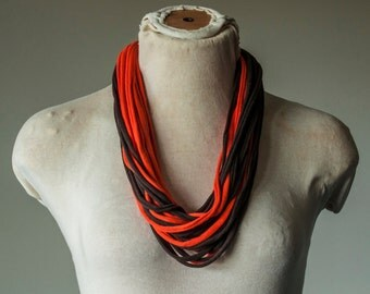Recycled T-Shirt Necklace Orange and Brown