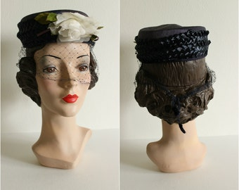Vintage 1960s Navy Pillbox Hat · Flower, Veiling, Straw
