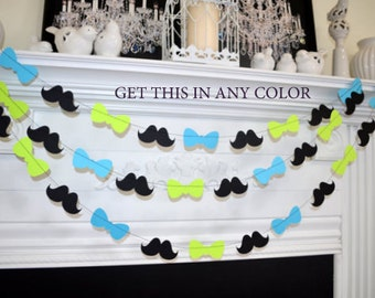 Bowtie Baby Shower Garland, 1st Birthday Party Decor, Mustache baby shower Decorations,  Mustache Bash, Little man birthday, lime green