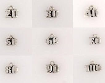925 Sterling Silver Number Charms, Choice of Numbers 20-100