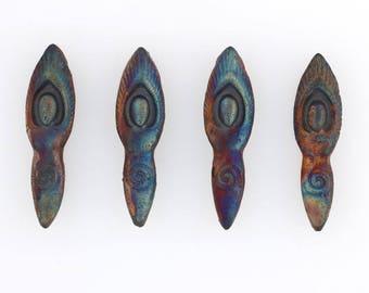 Multicolored Matte Raku Ceramic Beads, Goddess Design - mrk309