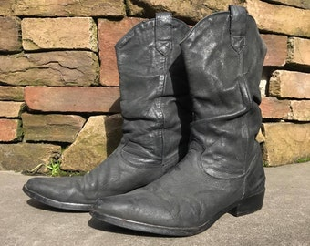 Vintage Western Slouch Boots Vtg Black Leather Cowboy Boots Men's Size 10