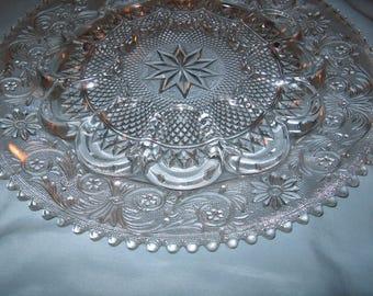 Vintage Glass Egg Plate Platter, Sandwich Pattern