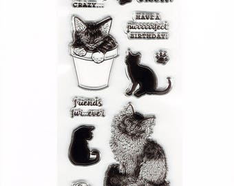 Cute Cat and Kitten Set of Clear Cling Stamps