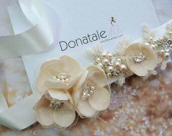 Wedding Sash Belt, Bridal Belt, Wedding Belt,Ivory Wedding Sash, Bridal Sash, Champagne Floral Sash, Floral belt, Dress Belt - BEATRICE