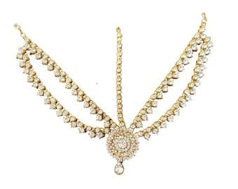 Wedding Kundan Stone Headpiece/Headchain/ Matha patti/ Maang tika Kundan hair jewellry for Party Indian Tikka