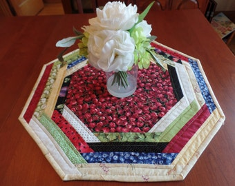 Cherry Table topper, Quilted Table Mat, Cherry Mat, Fruit Table Topper,  Octagonal Table  Mat