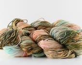 "Hand dyed yarn,  80 / 20%  superwash Merino / silk, sock yarn, 400 yards, ""Weathered Skye"""