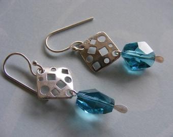 Swarovski aquamarine geometric crystal and silver drop earrings