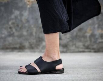 New! Black Sandals, Strappy Sandals, Leather Sandals, Black Summer Shoes, Slingbacks, Summer Flats, Slide Sandals, Ollie