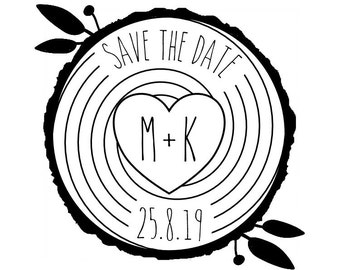 "CUSTOM WOOD SLICE save the date rubber stamp - wedding stamp, tags stamp, custom initials and date stamp, wedding stationery, 2""x2"" (cts161)"