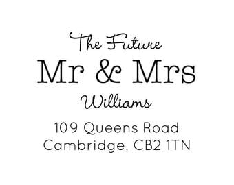 "Future Mr and Mrs Address Stamp, personalised stamp, wedding stationery, paper card and envelope stamp, home owner gift, 2""x1.5"" (cas104)"