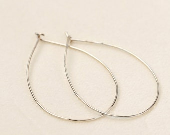 Solid 14k white gold hammered textured hoop earrings, 0.75mm wire, classic gold hoops, medium 14k rose, white, yellow gold, gol-e101-12