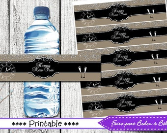 New year's water bottle labels -  Digital printable - instant download