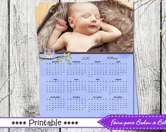 Digital printable - Personalized Owl calendar - 8x10 - Owl calendar