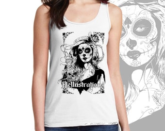Day Of The Dead Girl, sugar skull, skulls, gothic Ladies Tank-Top