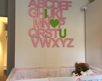 Baby Nursery Decor Alphabet Set Painted Wooden Alphabet Letters Set Nursery Wall Decor Letters Wall Hanging Wooden Letters full set