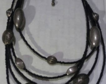 African Black and Silver Beaded Necklace