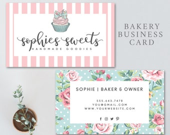 Bakery business card, cupcake business card, bakery logo, cupcake, cake, bakery, bakery stationary, BUSINESS CARD 3834