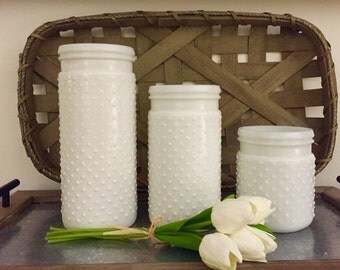 White Hobnail Milk Glass Jars- Farmhouse Style
