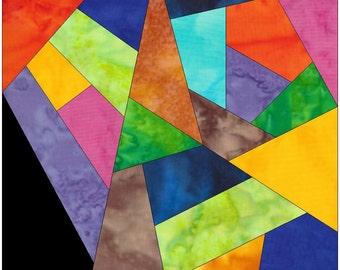 Complex Crazy Patch 16 Paper Foundation Piece Quilting Block Pattern PDF