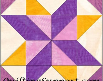 Star Puzzle 10 Inch Paper Piece Foundation Quilting Block Pattern PDF
