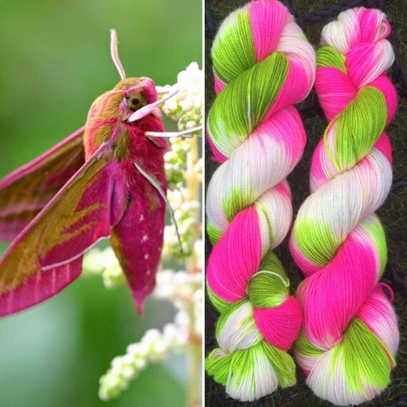 Radioactive Sparklemoth, indie-dyed variegated wildlife theme soft merino nylon blend sparkle sock yarn with silver stellina