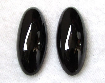 28X12 mm Pair (2 pcs) Natural BLACK Onyx Oval Cabochon have lots of gorgeous beautiful BLACK color
