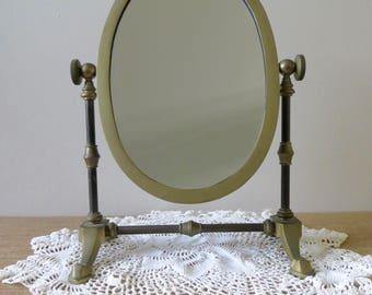 Vintage Oval Brass Vanity Mirror - Swivel Mirror