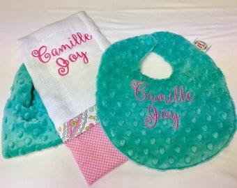 Burp Cloth and Bib set made with Minky Dot and Seersucker