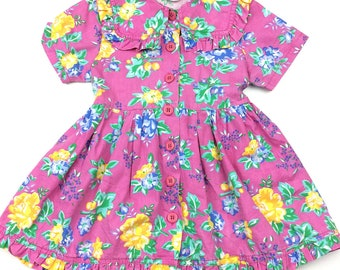 Vintage pink floral large collar button front dress age 2
