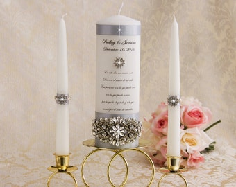 Silver Unity Candle Set Wedding Unity Candles Silver Wedding Candle Personalized Unity Candle Rhinestone Unity Candle