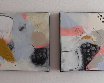 abstract painting, Diptych, acrylic, painting modern art, deco, bobo