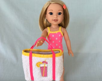 Pink Lemonade Bathing Suit and Beach Bag for Wellie Wisher/14.5 Inch Doll