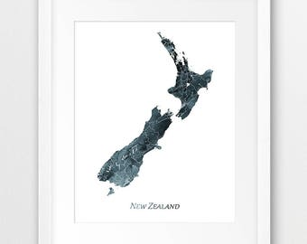 New Zealand Map Print, New Zealand Poster, New Zealand Wall Art, New Zealand Watercolor Blue Grey Indigo, Home Decor, Travel Printable Art