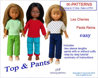 13 inch doll clothes pdf patterns TOP PANTS Les Cheries  Paola Reina poupee patron simple easy to sew for beginners download print
