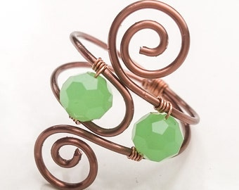 Jade and copper adjustable spiral ring