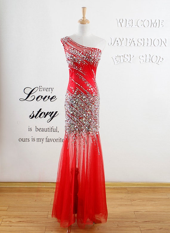2017 New fashion Handmade beading crystal prom dress/mermaid long prom dress/Sexy bridesmaid dress/Red formal women evening Party dress