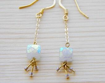 Shimmery Quartz Dangle Earrings