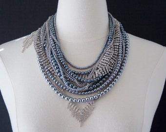 Bridal Statement Necklace, Swarovski Pearl, Pearl & Rhinestone, Statement Necklace, Gray Pearl, Vintage Wedding, Bridal Jewelry Trends 2017