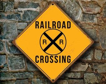 RAILROAD CROSSING SIGN - Railroad Crossing Signs, Warning Railroad Crossing, Railroad Sign, Railroad Decor, Railroad Xing, Yellow Sign