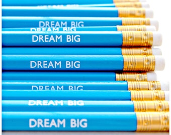 Dream Big Pencil. Stationery. Stationery. Birthday. Fun. Present. Pencils. Desk. Planner. Office. Party Bag Filler. Blue. Gift. Dreamer.