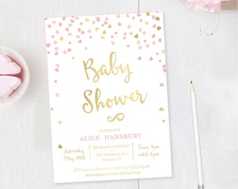 Pink Hearts Baby Shower Invitations, Girl Baby Shower, Printable Invitation, Pink Baby Shower Invites, Pink Invitation, Pink and Gold Hearts