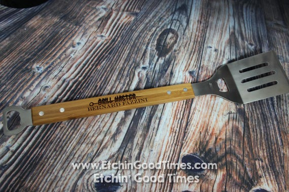 BBQ Spatula - Personalized bottle opener Grill Spatula with 2 Bottle openers Burger Flipper, Grill master Fathers day, Groomsmen, House Gift