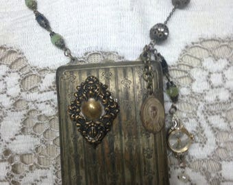 SECRET STASH antique makeup change purse locket charm vintage assemblage necklace upscaled repurposed mixed media altered art warch face